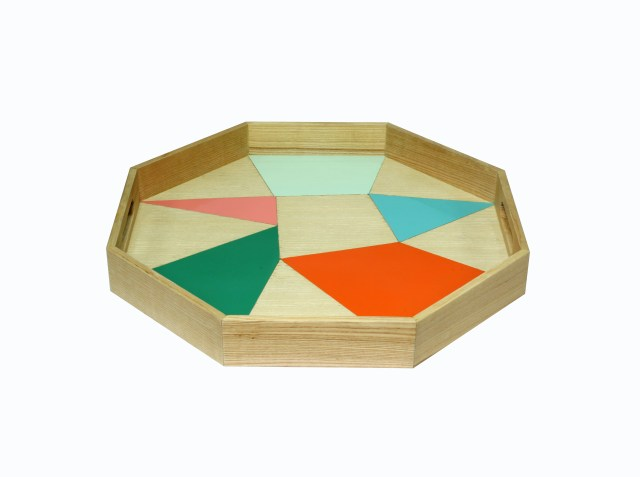 ASH WOOD PRINTING PATTERN HEXAGON TRAY