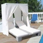 Double Poly rattan sun louner with roof