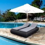 Double Poly rattan sun louner with umbrellar