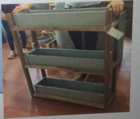Planter Rack 3 tiers Zinc Wooden Frame - Acacia oiled stain Fiber Cement