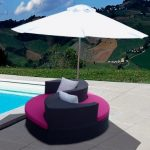 Poly rattan sun lounger with umbrellar