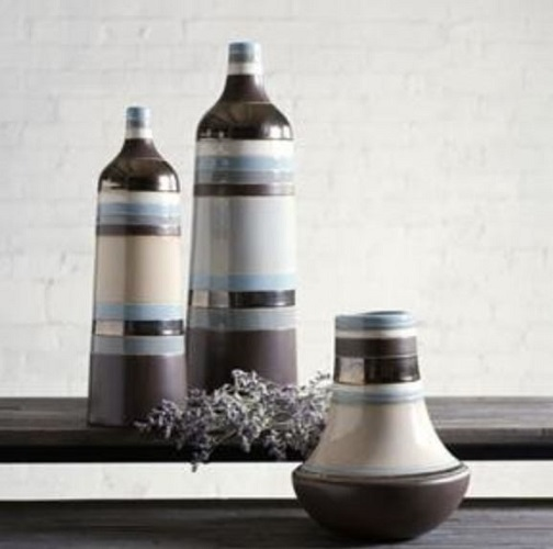 Striped Ceramic Vase and Bottle Vase