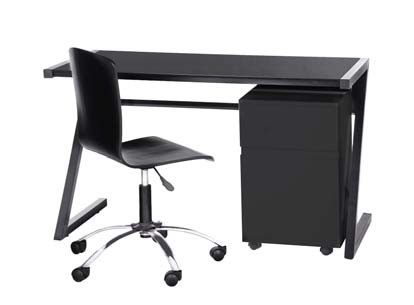 FULLIN BLACK GLASS & METAL OFFICE TABLE