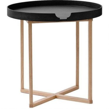 SIDE TABLE – BLACK TRAY – ACACIA