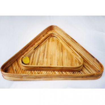 RATTAN TRIANGLE TRAY SET OF 2