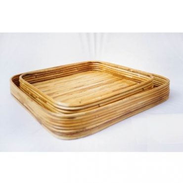RATTAN SQUARE TRAY SET OF 2