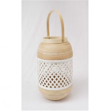 BAMBOO LANTERN WHITE-MEDIUM