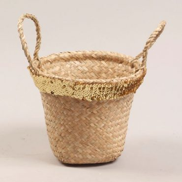 Seagrass basket – gold sequin