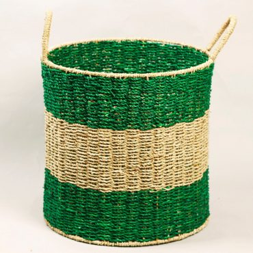 Seagrass hamper – Striped pattern