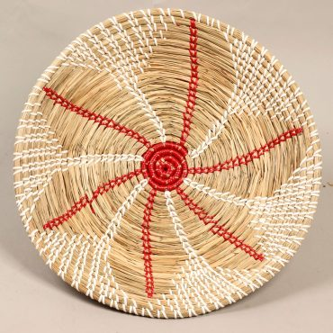 Seagrass tray – red flower