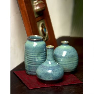 STONEWARE 5 VASE SET OF 3